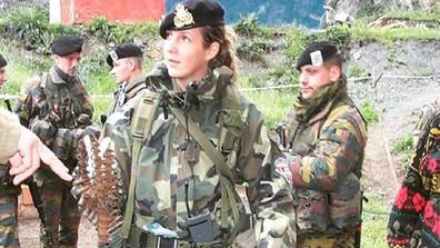 Tessy from Luxembourg as an 18-year-old army recruit on deployment.