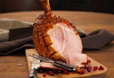 Apple cider-glazed Christmas ham