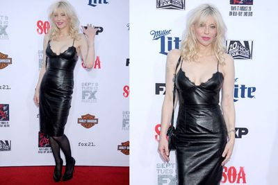 Always the rock star, Courtney looks good in leather. <br/>