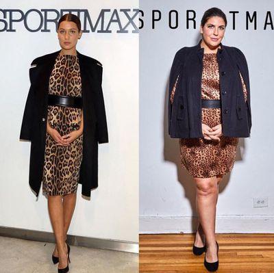 Plus-size blogger Katie Sturino replicating Bella Hadid's look