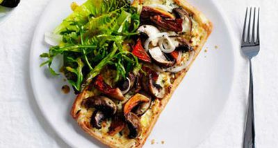 "Recipe: <a href=""http://kitchen.nine.com.au/2016/05/05/15/24/mushroom-and-cheddar-tart"" target=""_top"">Mushroom and cheddar tart</a>"