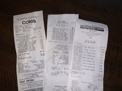 Jo Abi receipts from shopping at Coles, Aldi and The Reject Shop