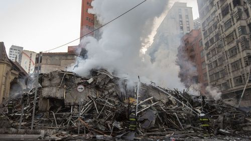 Locals in the building in Sao Paolo believe the fire might have been caused by a gas leak.