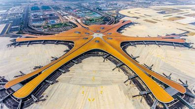 "An aerial view of the striking new Beijing Daxing International Airport, dubbed ""starfish"" by Chinese media."