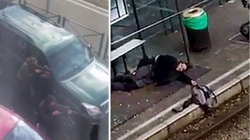 Armed Belgian police (left) and the alleged terror suspect (right).