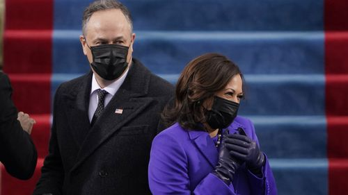 President-elect Kamala Harris and her husband Doug Emhoff, arrive for the 59th Presidential Inauguration at the U.S. Capitol in Washington, Wednesday, Jan. 20, 2021
