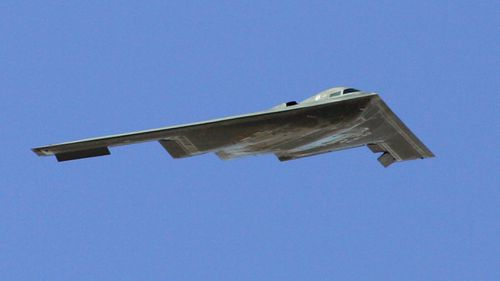 A B-2 Spirit flies by during a U.S. Air Force firepower demonstration at the Nevada Test and Training Range September 14, 2007 near Indian Springs, Nevada. (Getty)