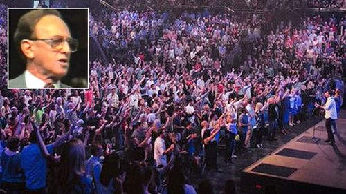 Preacher Frank Houston in his heyday, and the scene from a Hillsong service last weekend. (9NEWS)