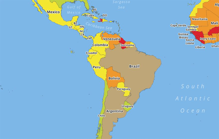 The Most Dangerous Countries Revealed In A Map Travel - Argentina map meaning