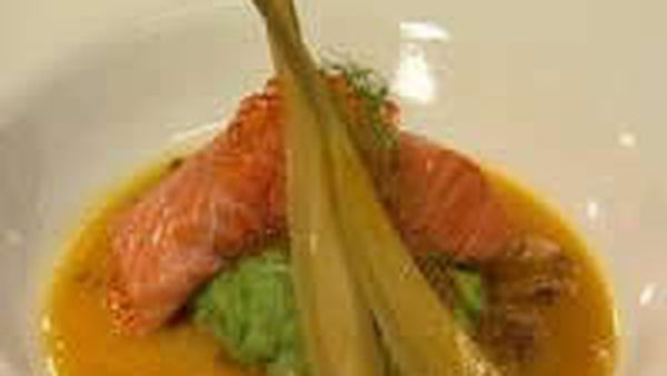 Confit Of Ocean Trout With Pea Puree, Braised Fennel And A Pernod & Orange Sauce