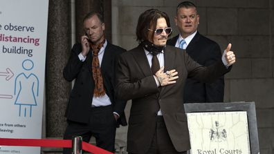 Actor Johnny Depp arrives at the Royal Courts of Justice, Strand on July 15, 2020 in London, England.