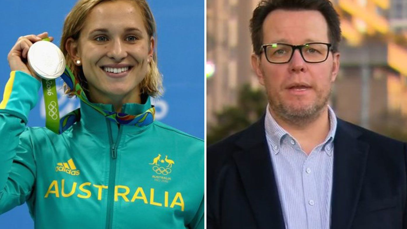 Maddy Groves celebrates her silver medal at the Rio Olympics, and Swimming Australia president Kieren Perkins.