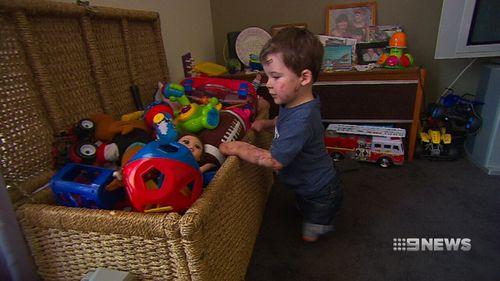Riley Nixon, aged three, lost his limbs to meningococcal. (9NEWS)