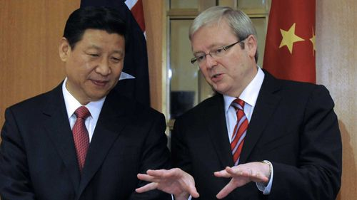 Xi Jinping with Kevin Rudd in 2010.