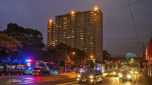 A General view of the housing commission flats in the suburb of Flemington, where a coronavirus outbreak has been recorded, on July 04, 2020 in Melbourne, Australia.