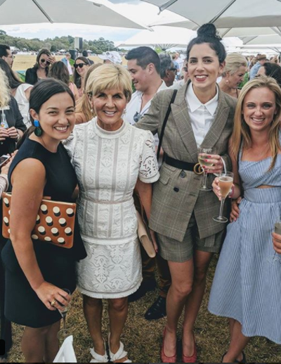 Foreign Minister Julie Bishop posing with fans at the 2018 Portsea Polo