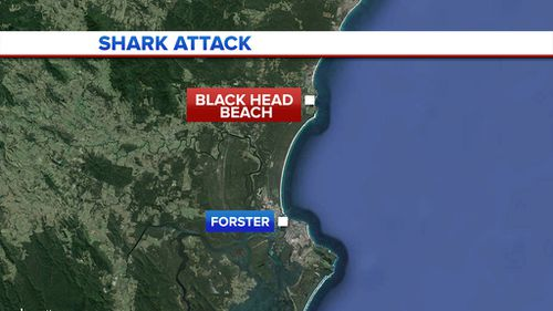 Yesterday's shark attack happened at Black Head Beach, north of Forster. (9NEWS)