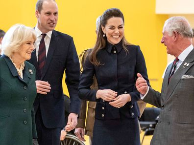 Camilla, William, Kate and Charles  all share a laugh during a visit to the Defence Medical Rehabilitation Centre Stanford Hall, Stanford on Soar, Loughborough