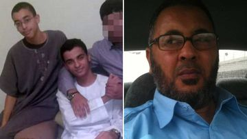 Hashem and Ismail Abedi (left) and their father Ramadan.