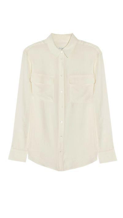 <p>Equipment's luxe silk shirt.</p>