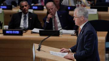Malcolm Turnbull address the UN. (AAP)
