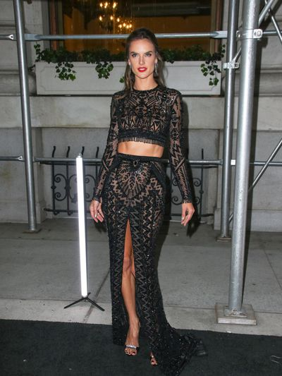 Model Alessandra Ambrosio wearing Zuhair Murad at the Harper's Bazaar Icons party in New York, September, 2018