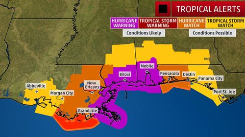 A map of areas in the US Gulf Coast expected to be affected. (weather.com)