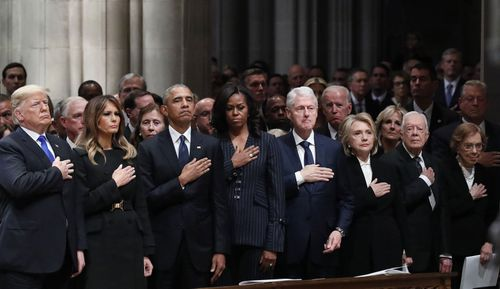 An emotional moment despite the snub among the Trumps and Clintons.