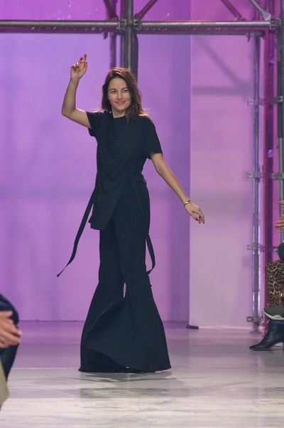 Kym Ellery takes a bow following her spring/summer '17 show at Paris Fashion Week