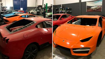 Fake Ferraris and Lamgorghinis siezed from a Brazilian workshop.