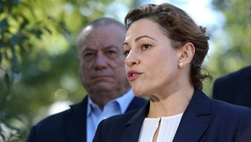 Actimg premier Jackie Trad speaks with reporters. Picture: AAP