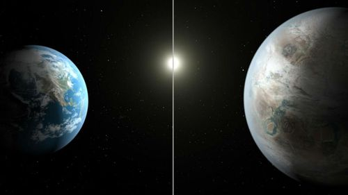 This artist's concept compares Earth (left) to the new planet, called Kepler-452b, which is about 60 percent larger in diameter. (NASA)