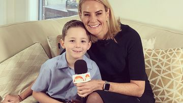 Little Quinn with his aunty and TODAY reporter Christine Ahern.