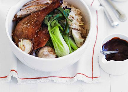 Chinese roast duck with ginger and shiitake rice