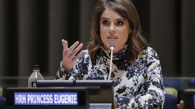 Princess Eugenie speaks at the UN's New York headquarters, July 2018