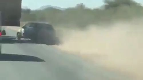 The car then loses control on the unsettled dirt alongside the road and turns sharply into the truck. Picture: Facebook/Road Trains Australia.