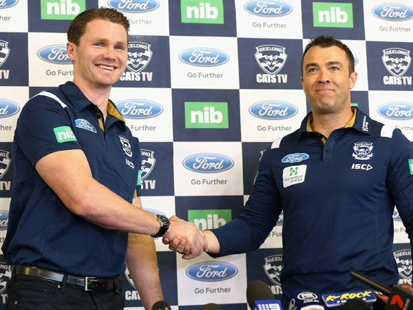 Patrick Dangerfield and Chris Scott. (Getty)