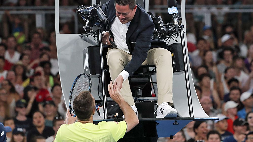 Australian Open 2018: Viktor Troicki accidentally nails chair umpire James Keothavong in the head with wayward return