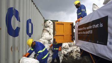 Rubbish from Mount Everest is unloaded in Kathmandu, Nepal.