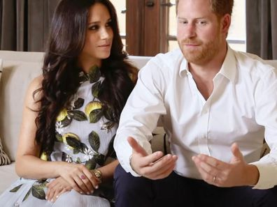 Harry and Meghan during virtual Spotify event
