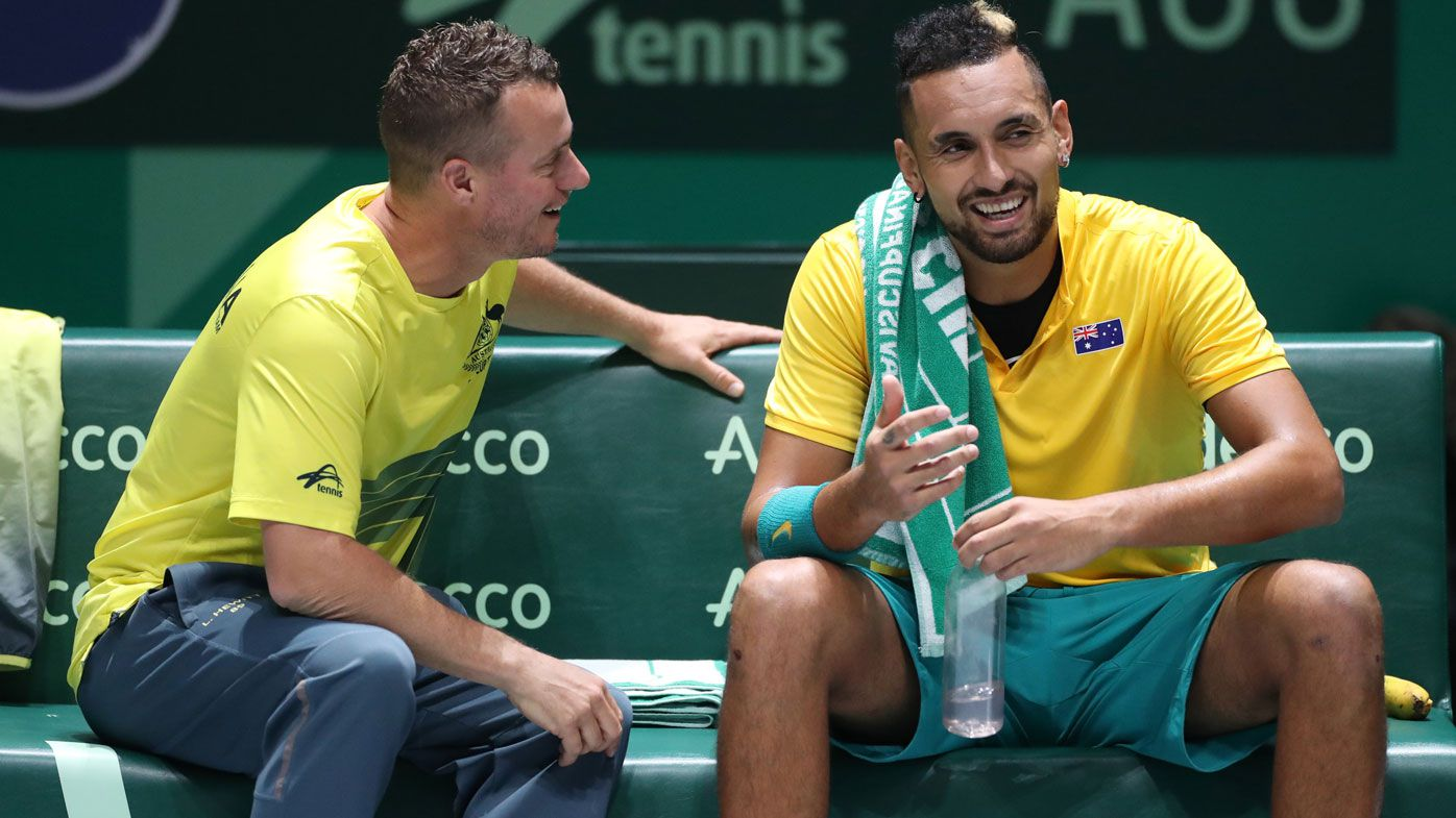 Team Captain Lleyton Hewitt speaks with Nick Kyrgios of Australia