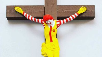 'McJesus' sculpture sparks angry protests
