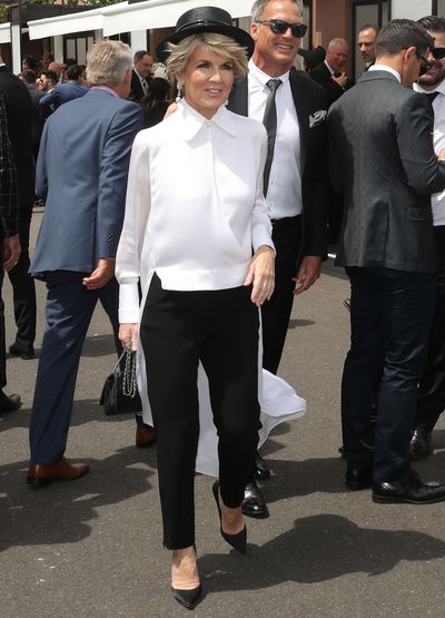 Politician Julie Bishop at Melbourne's Derby Day, 2018