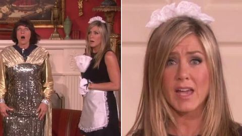 Watch: Jennifer Aniston turns sexy French maid, reunites with <i>Friends</i> co-stars on <i>Ellen</i>!