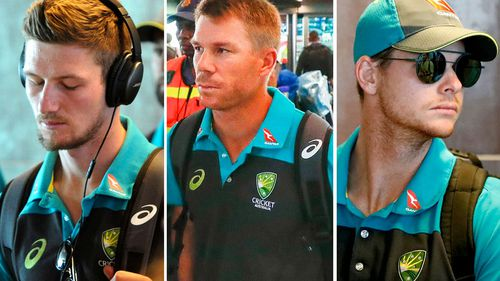 Cameron Bancroft, David Warner and Steve Smith are heading home from South Africa. (Supplied)
