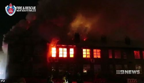 The blaze has destroyed the inside of the historic Parramatta Primary School building. (9NEWS)