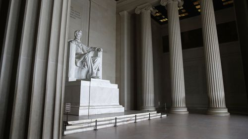 The Lincoln Memorial sits empty as coronavirus grips the United States.