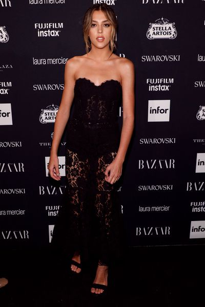 Sistine Stallone, 19, is yet to set foot on the New York Fashion Week runway but attended the Harper's Bazaar Icons party. Stallone has already appeared on the runway in Milan for Dolce & Gabbana.