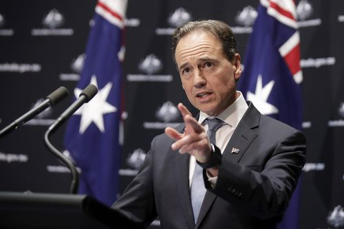 Minister for Health Greg Hunt provides an update on the government's response to the COVID-19 coronavirus pandemic, at Parliament House in Canberra