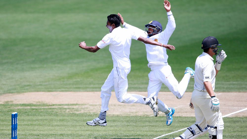 Sri Lanka's Dushmantha Chameera celebrates a wicket. (Getty)